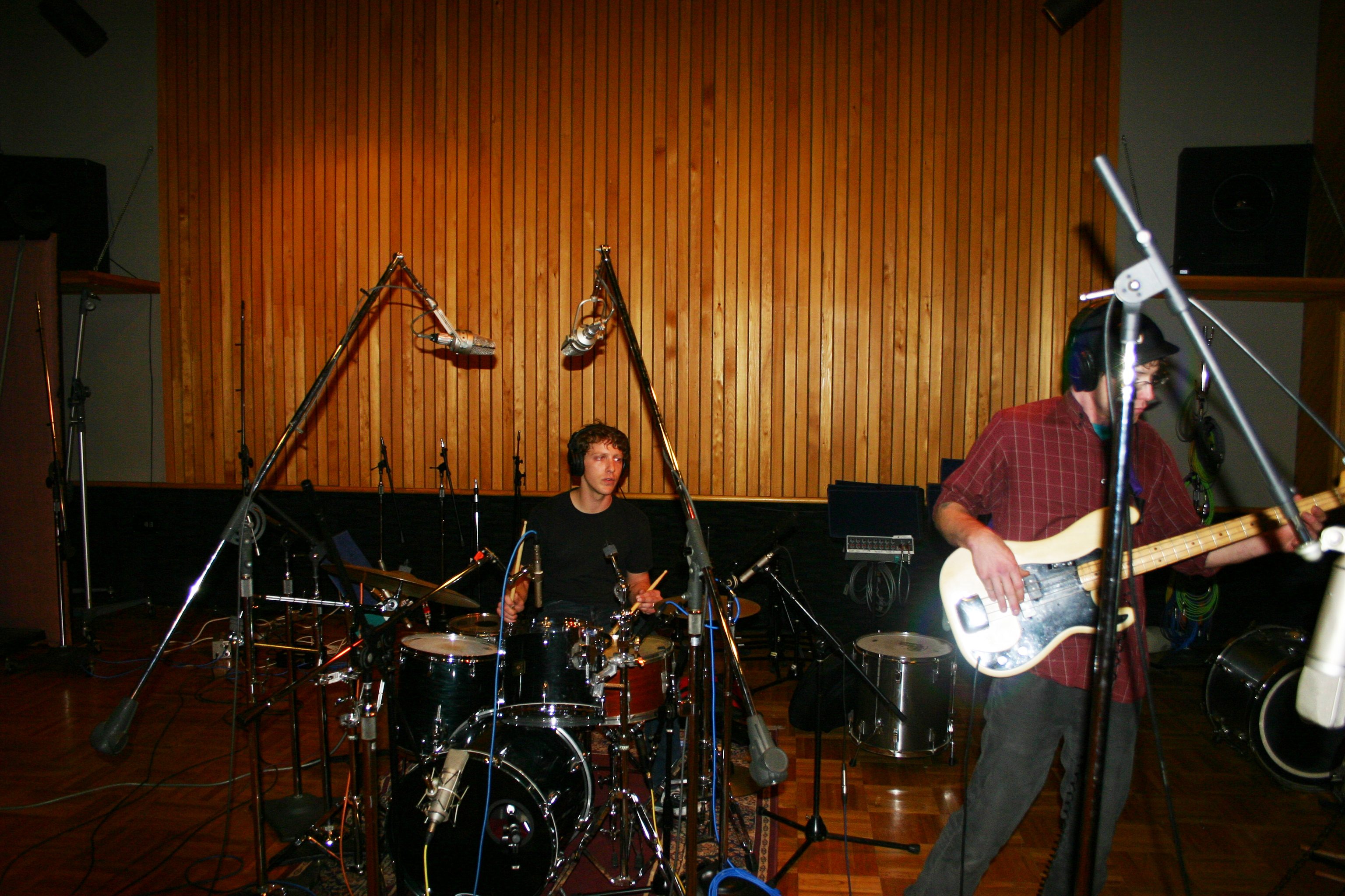 """Mike """"Lumpy"""" Hughes playing drums with bassist Matt Montgomery in the project """"Throttle Elevator Music."""""""