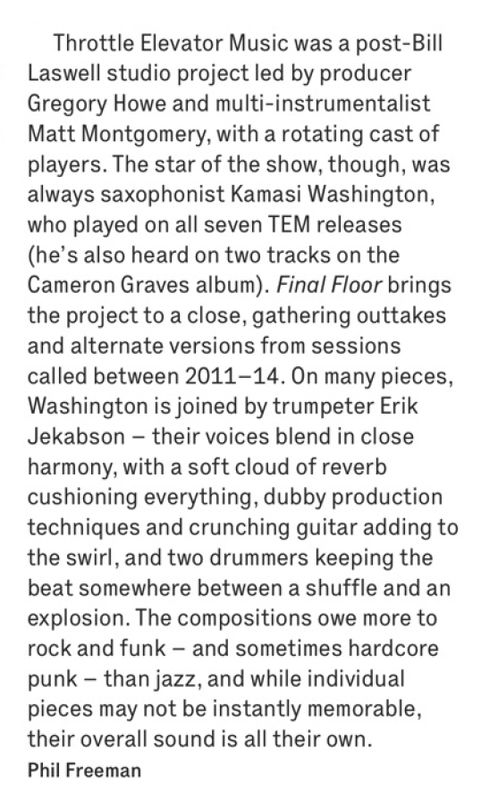 """Scan of the review in The Wire magazine of Throttle Elevator Music's """"Final Floor"""""""