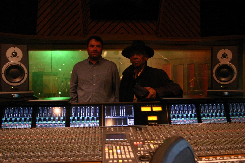 Gregory Howe and Roscoe Mitchell in the Wide Hive sound room.