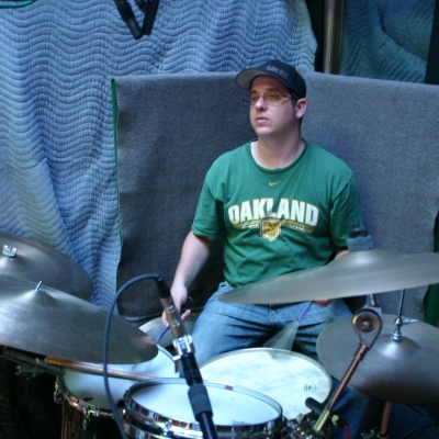 """Mike """"Lumpy"""" Hughes at Wide Hive Studios, playing drums on the Larry Coryell release, """"Heavy Feel."""""""
