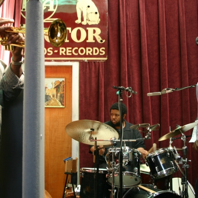 Hugh Ragin (left) with Tyshawn Sorey (middle) and Roscoe Mitchell (right).